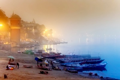 The city of Varanasi on a misty cold winters morning.
