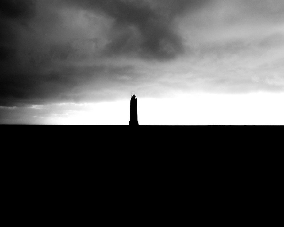 Silhouette image of a Lighthouse in Iceland.
