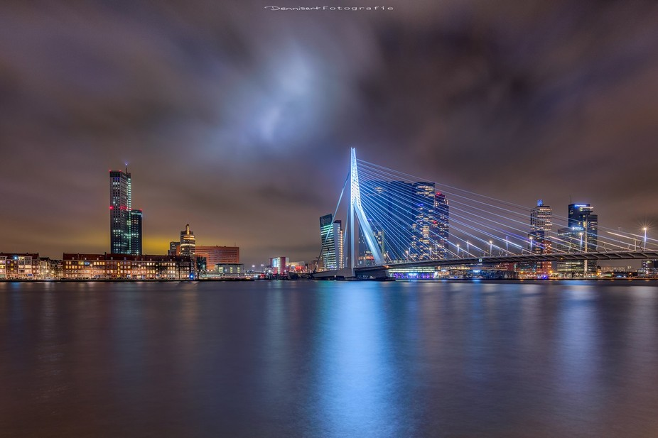 The skyline from Rotterdam. The colors in the sky are light pollution from the city