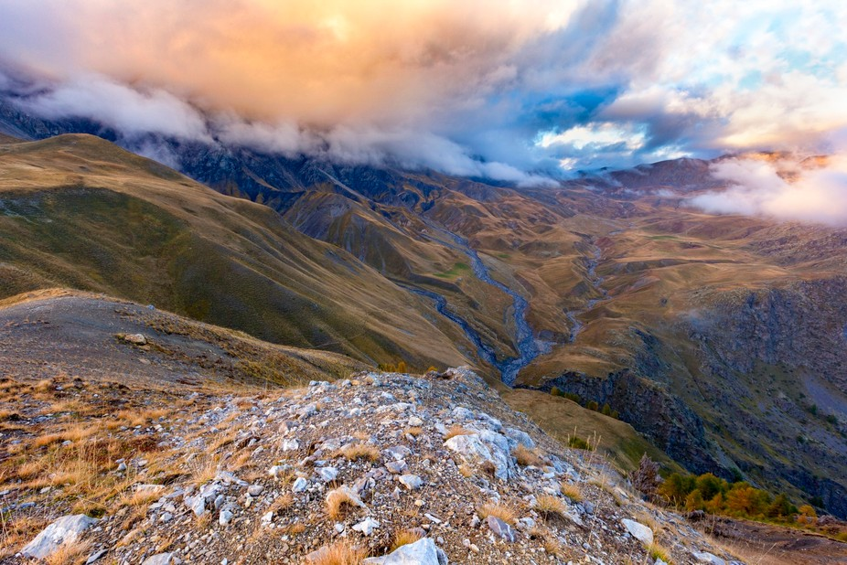 Impressive sunset from Mercantour national park in south of french Alps. © Sylvain Caussin All R...