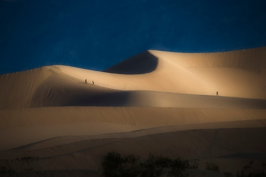 Death Valley photographers trekking and tracking into the Mesquite Dunes.