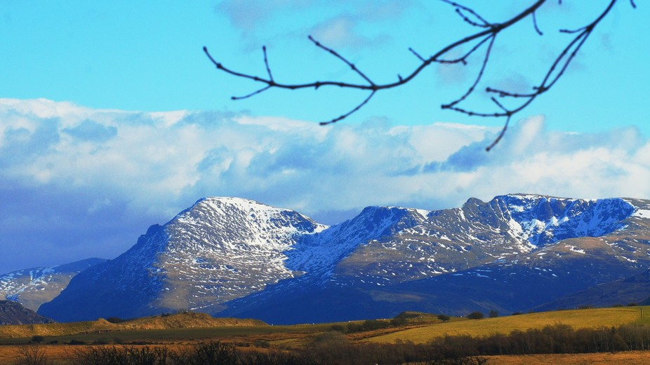 SNOW on the mountains of the NATIONAL PARK CUMBRIA UK /1 of 4 shots