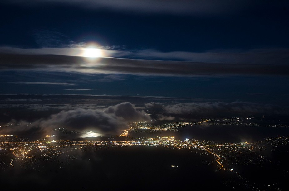 Overlooking the city of Hobart is the mt Wellington, this was taken on a very cold evening with t...