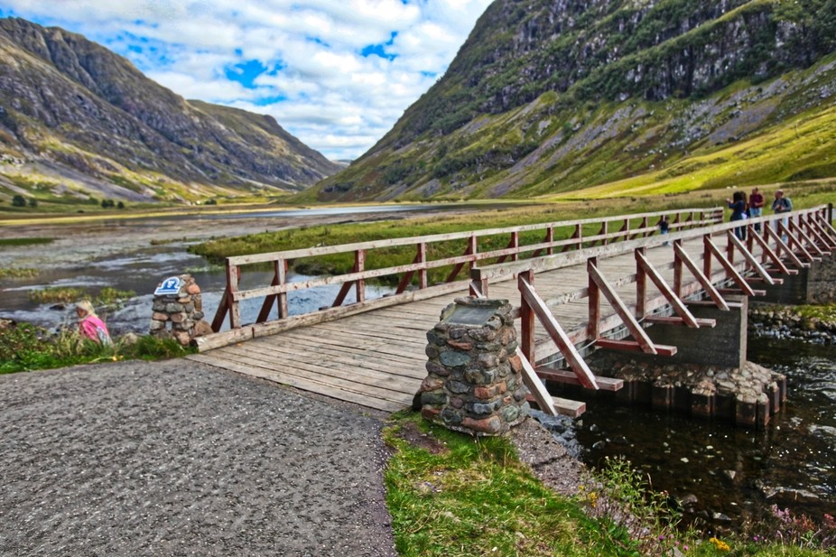 The bridge over the River Coe, in the Pass of Glen Coe, that takes you to the white Achnambeithac...
