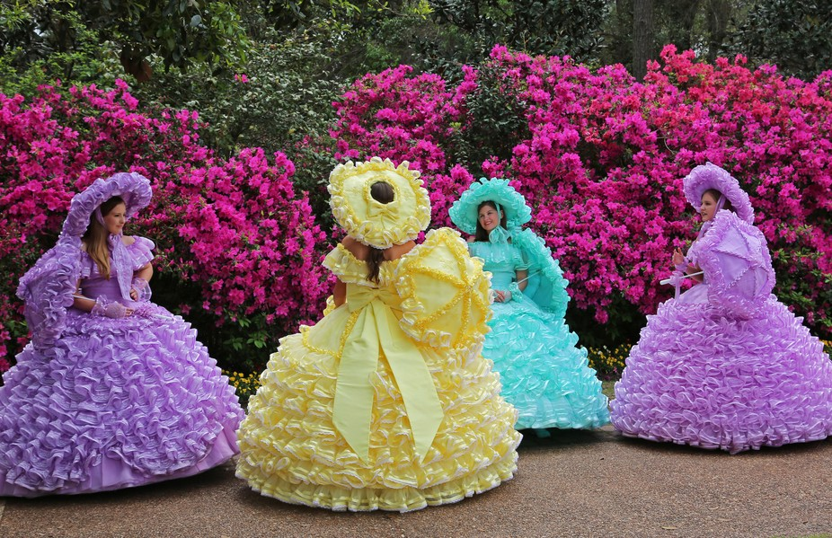 I was touring the Bellingrath Gardens and Home outside of Mobile, Alabama. And these girls were j...