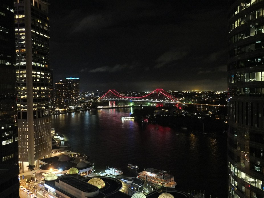Taken from the balcony of our hotel late at night. A view of Brisbane's Story Bridge.