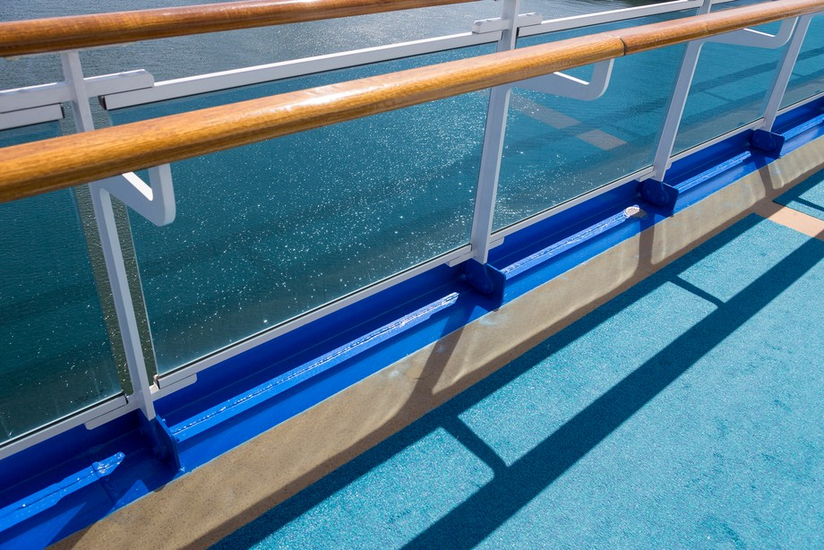 Handrail 15 stories above the water - Ruby Princess