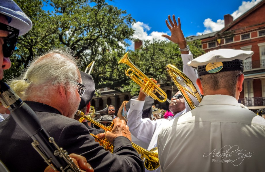 This trumpeter is blasting away for the Jazz funeral of Pete Fountain, world renowned clairenetis...