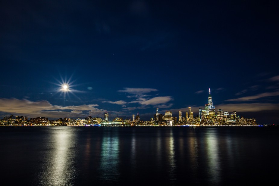 Shot from Pier A in Hoboken during a beautiful full moon.