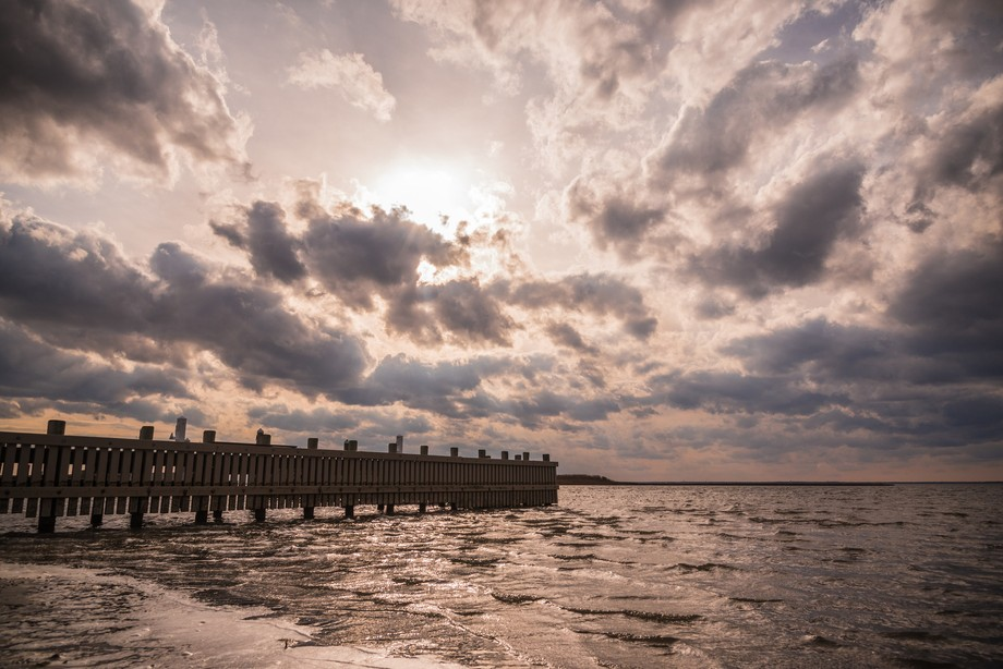 Sunshine and clouds over the bay in Beach Haven, NJ.