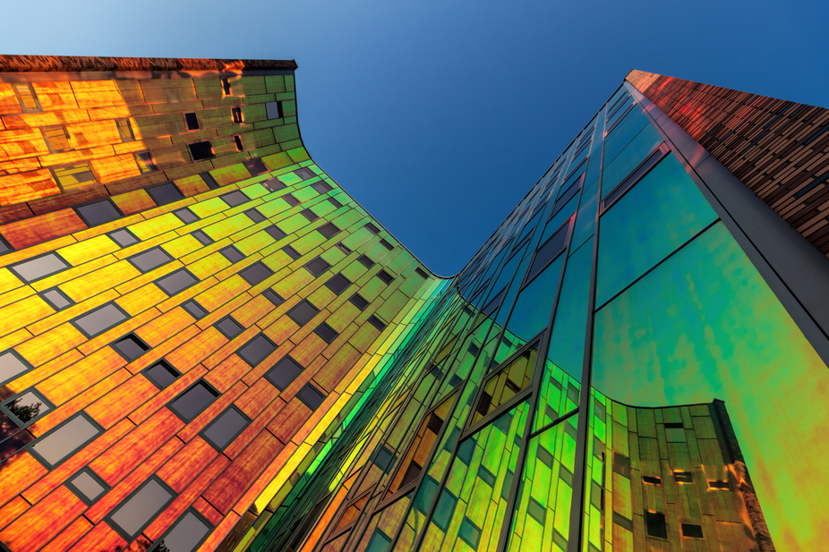 When the sun shines low against this building, the colors come to life like a rainbow because of ...
